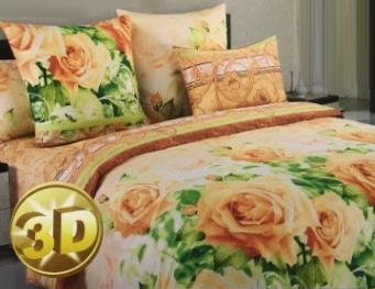 КПБ из сатина 1,5 Здоровый сон крупные розы 3D 02040105