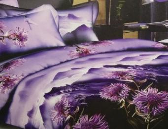 Продажа КПБ из сатина 1,5 Здоровый сон фиолетовые цветы на фоне гор 3D 02040107 в Петербурге - интернет-магазин постельного белья из сатина с цветами magazinnakrovati.ru
