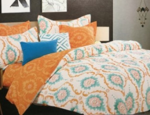 КПБ из сатина 1,5 Здоровый сон оранжевый, бирюзовый и белый с геометрией 02040104